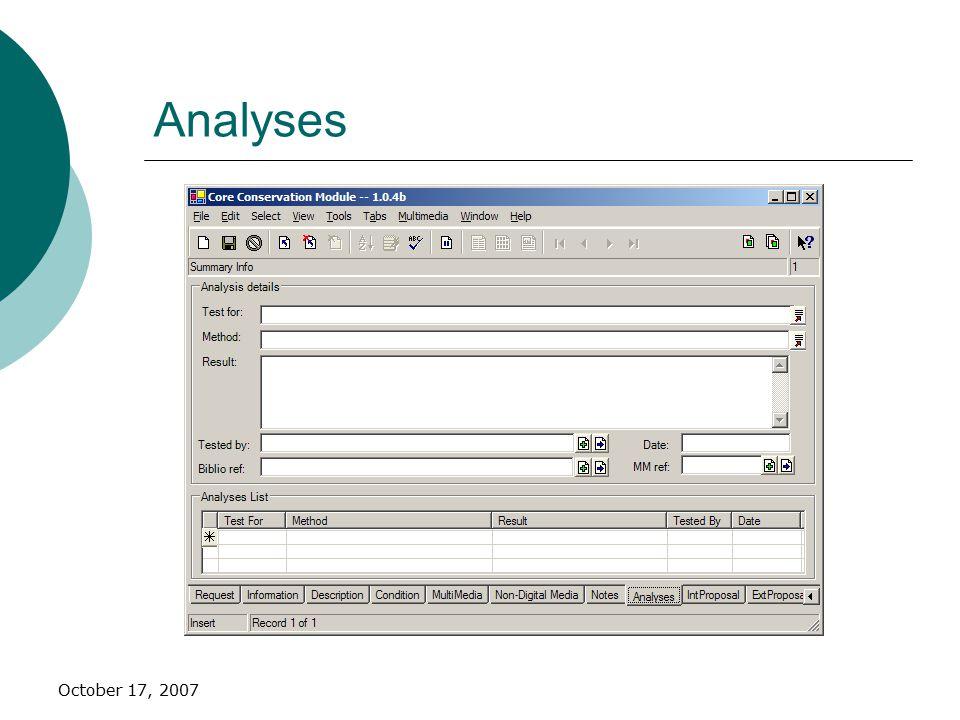 October 17, 2007 Analyses