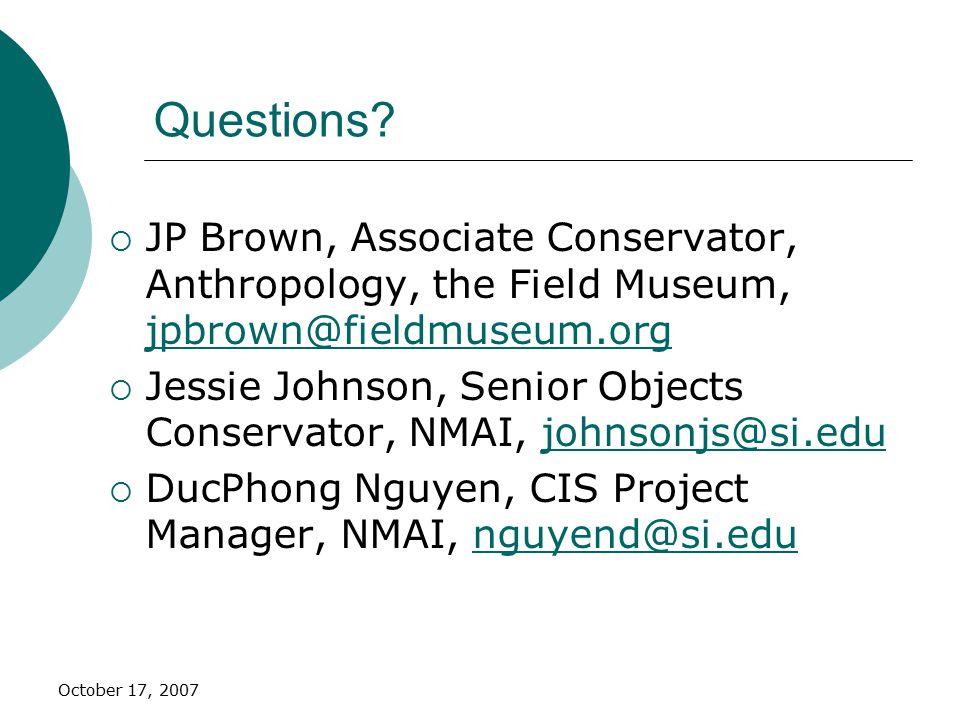 October 17, 2007 Questions.
