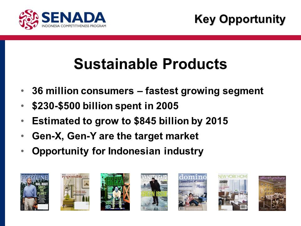 Key Opportunity Sustainable Products 36 million consumers – fastest growing segment $230-$500 billion spent in 2005 Estimated to grow to $845 billion by 2015 Gen-X, Gen-Y are the target market Opportunity for Indonesian industry