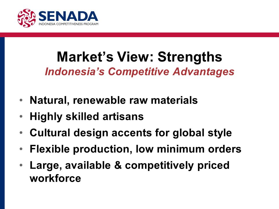 Market's View: Strengths Indonesia's Competitive Advantages Natural, renewable raw materials Highly skilled artisans Cultural design accents for global style Flexible production, low minimum orders Large, available & competitively priced workforce