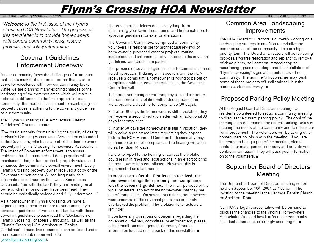 Flynn's Crossing HOA Newsletter August 2007, Issue No.