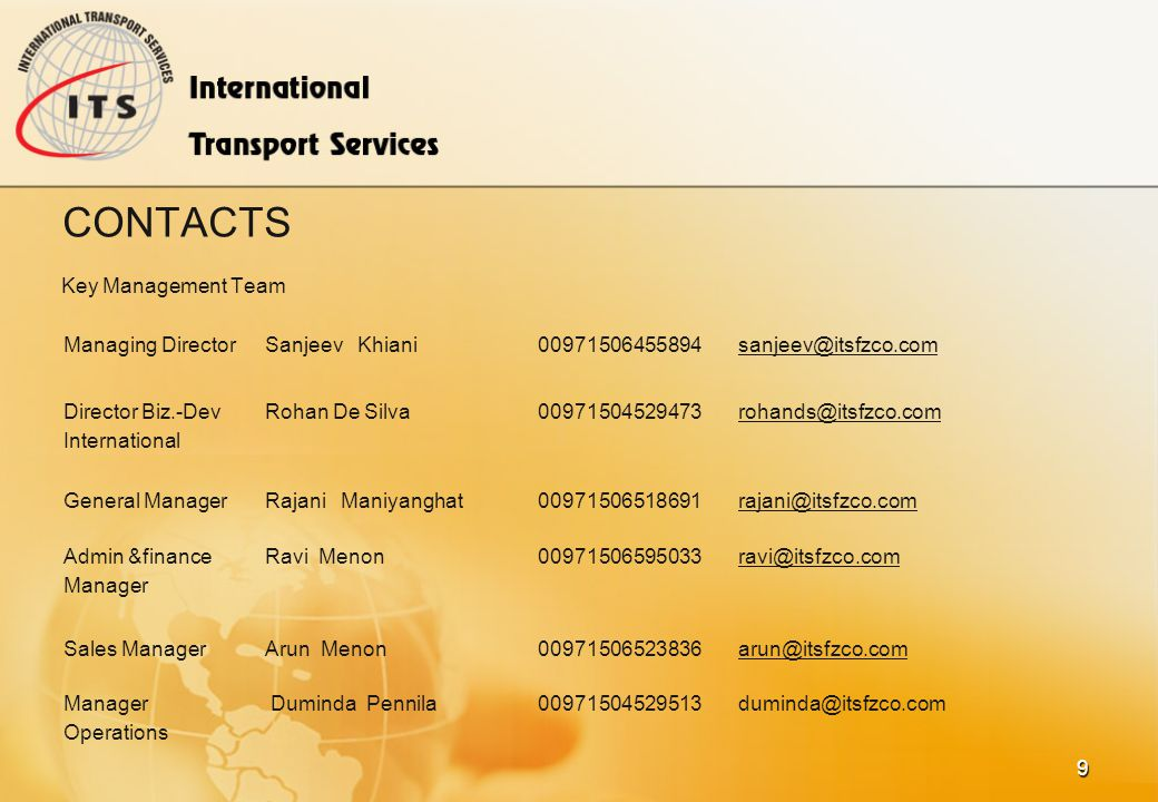 BENEFITS Our Management team consists of experts with many years of experience in Logistics and mantain very close Relationship with major Airlines an