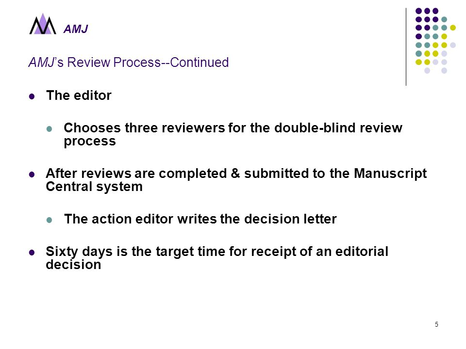 AMJ 5 AMJ's Review Process--Continued The editor Chooses three reviewers for the double-blind review process After reviews are completed & submitted to the Manuscript Central system The action editor writes the decision letter Sixty days is the target time for receipt of an editorial decision