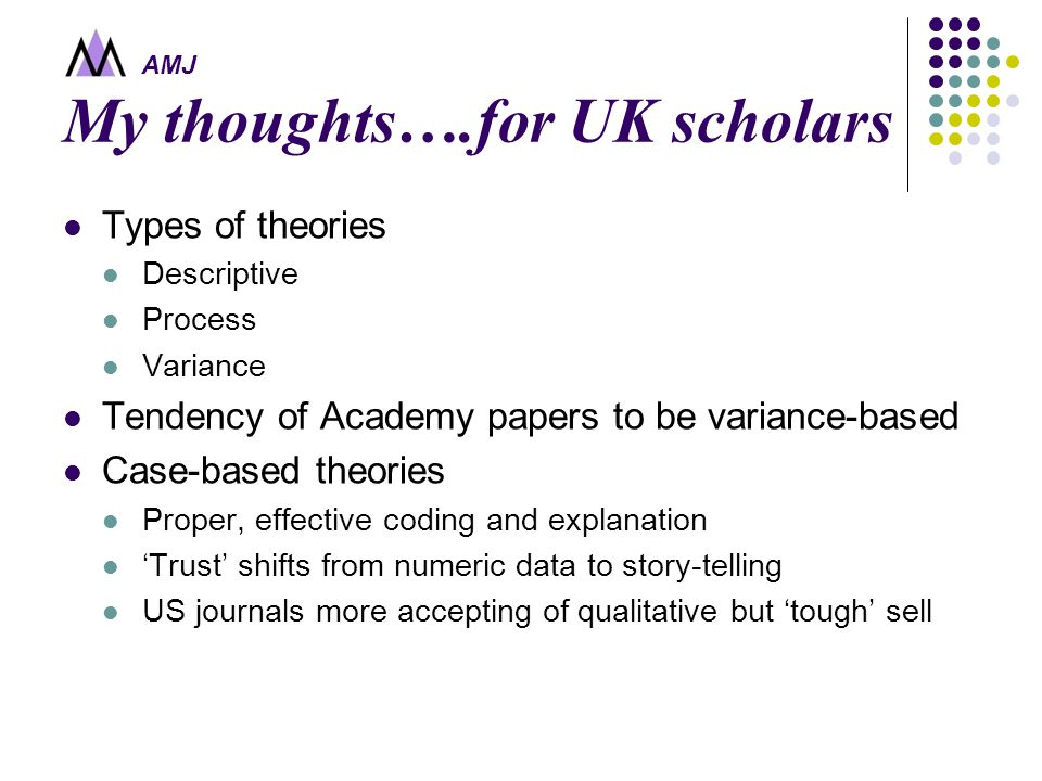 AMJ My thoughts….for UK scholars Types of theories Descriptive Process Variance Tendency of Academy papers to be variance-based Case-based theories Pr