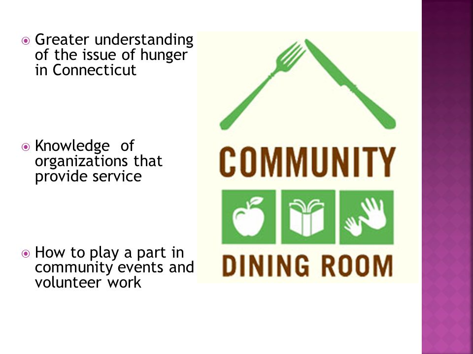  Greater understanding of the issue of hunger in Connecticut  Knowledge of organizations that provide service  How to play a part in community even