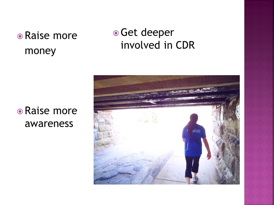  Raise more money  Raise more awareness  Get deeper involved in CDR