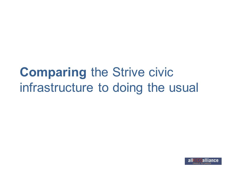 Comparing the Strive civic infrastructure to doing the usual