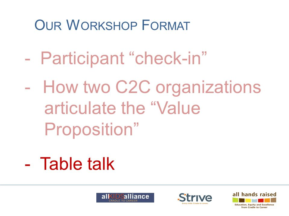 "- Participant ""check-in"" O UR W ORKSHOP F ORMAT -How two C2C organizations articulate the ""Value Proposition"" - Table talk"