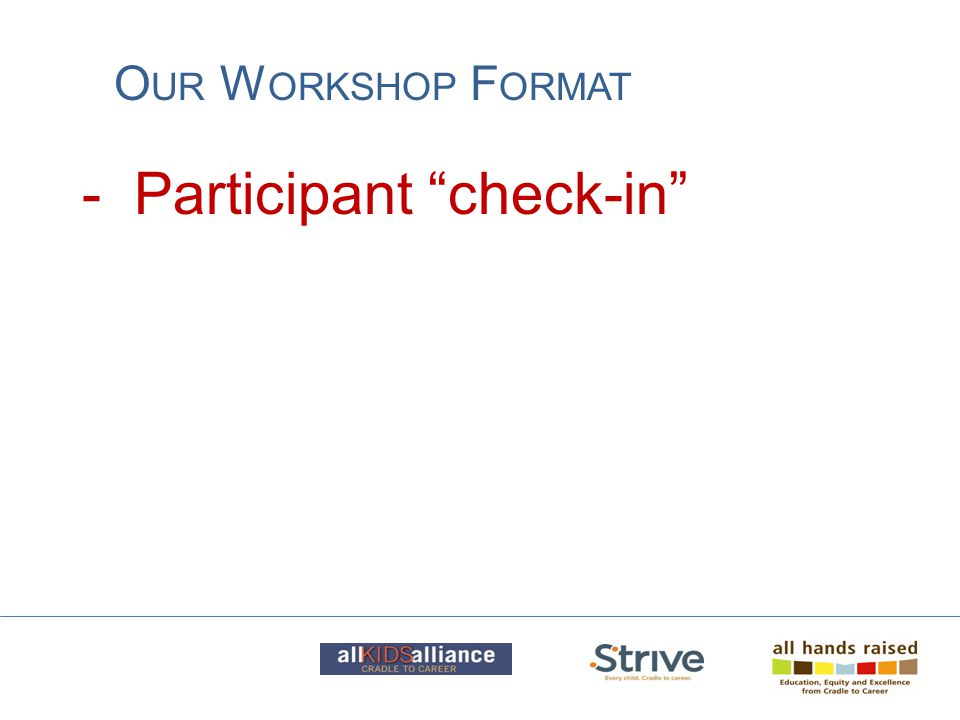 "- Participant ""check-in"" O UR W ORKSHOP F ORMAT"