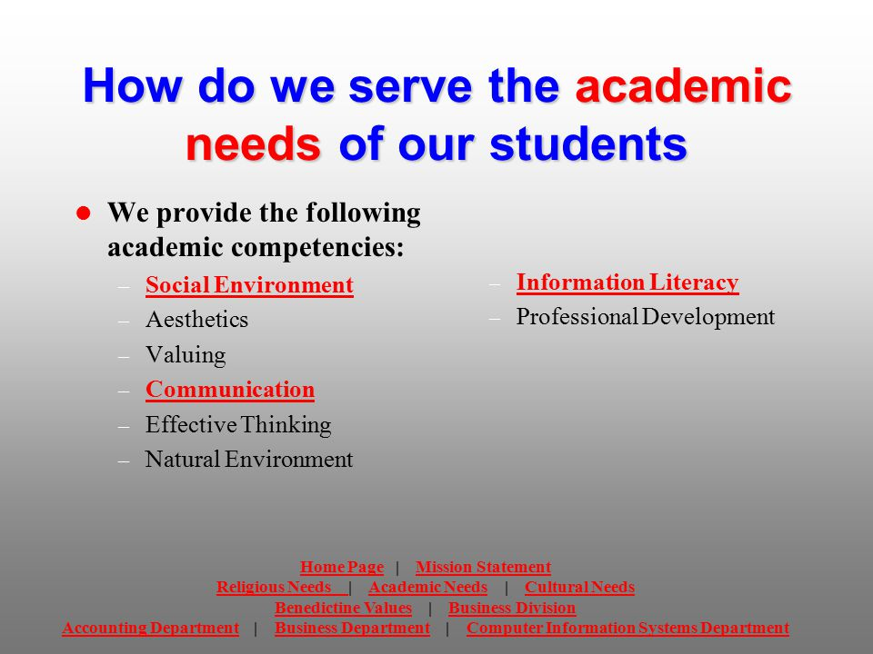 Business Department Mission Statement Our mission is to create an environment for students where they can attain the necessary knowledge, skills and abilities to become America's next generation of servant leaders.