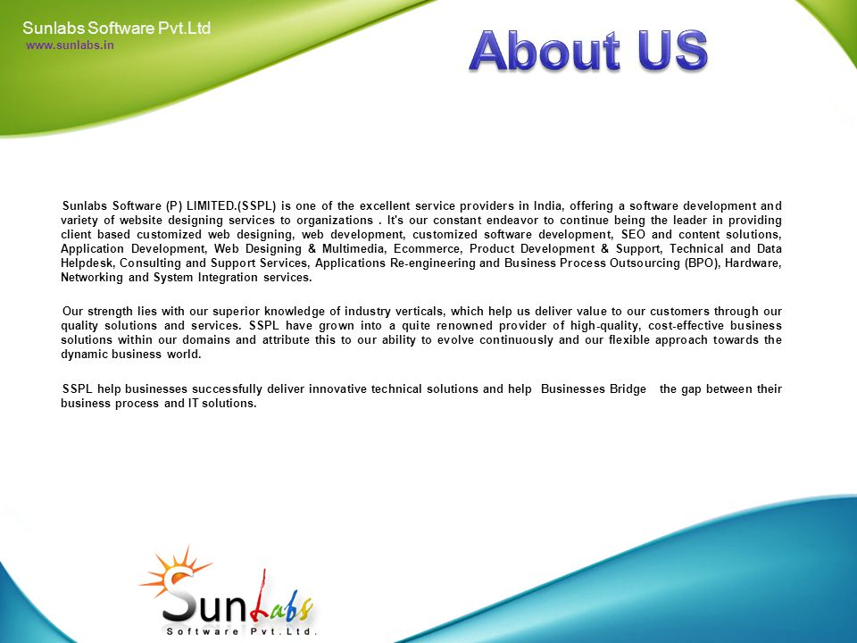 Sunlabs Software Pvt.Ltd www.sunlabs.in