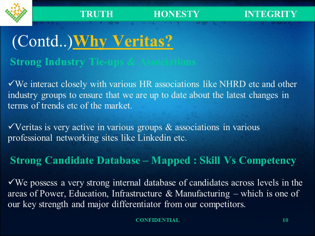 (Contd..)Why Veritas? Strong Industry Tie-ups & Associations We interact closely with various HR associations like NHRD etc and other industry groups