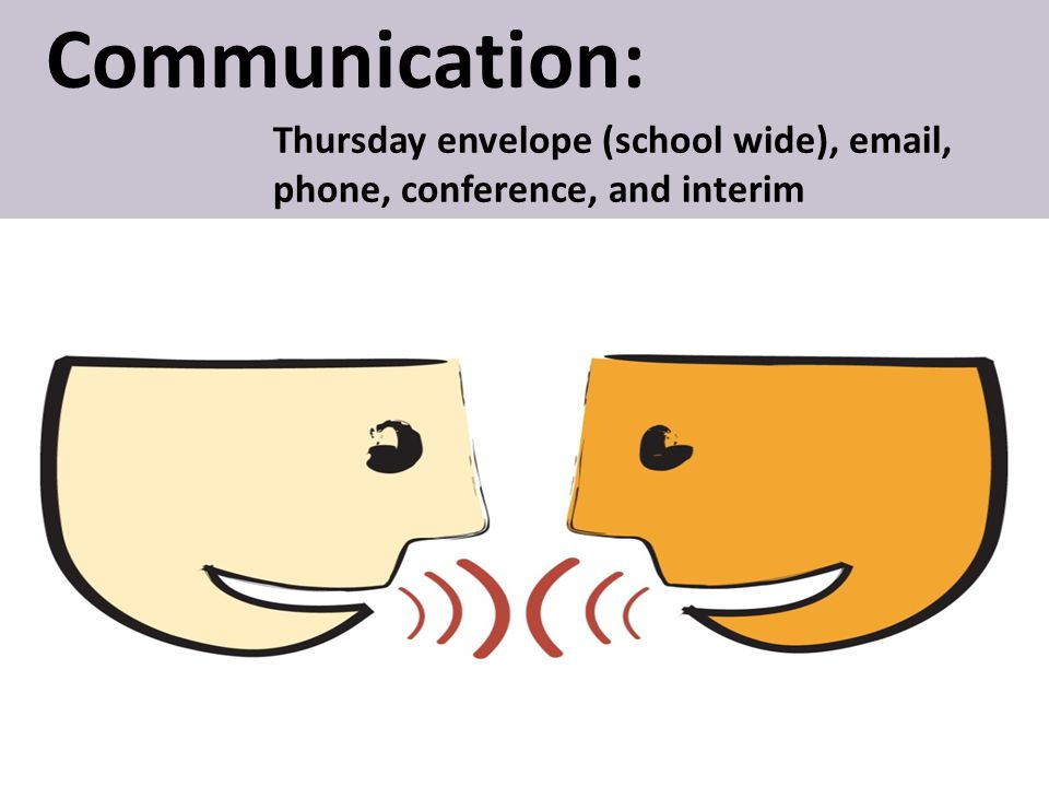 Communication: Thursday envelope (school wide), email, phone, conference, and interim