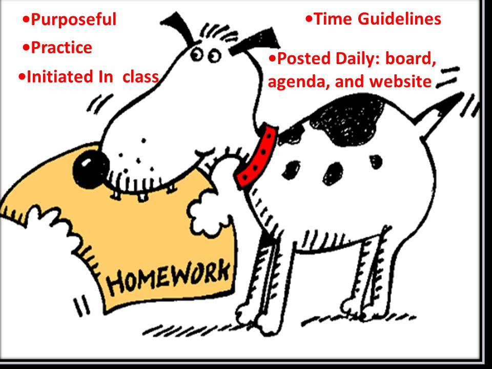Purposeful Practice Time Guidelines Posted Daily: board, agenda, and website Initiated In class