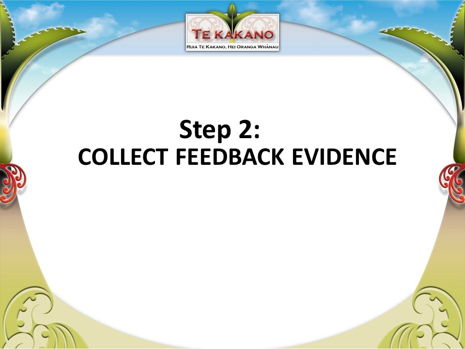 COLLECT FEEDBACK EVIDENCE Step 2: