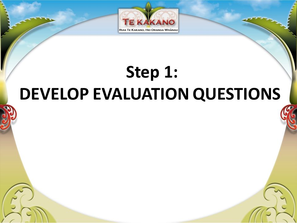 Step 1: DEVELOP EVALUATION QUESTIONS
