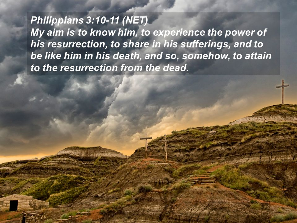 Philippians 3:10-11 (NET) My aim is to know him, to experience the power of his resurrection, to share in his sufferings, and to be like him in his death, and so, somehow, to attain to the resurrection from the dead.