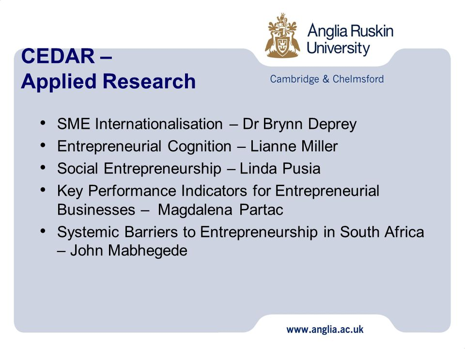 CEDAR – Applied Research SME Internationalisation – Dr Brynn Deprey Entrepreneurial Cognition – Lianne Miller Social Entrepreneurship – Linda Pusia Key Performance Indicators for Entrepreneurial Businesses – Magdalena Partac Systemic Barriers to Entrepreneurship in South Africa – John Mabhegede
