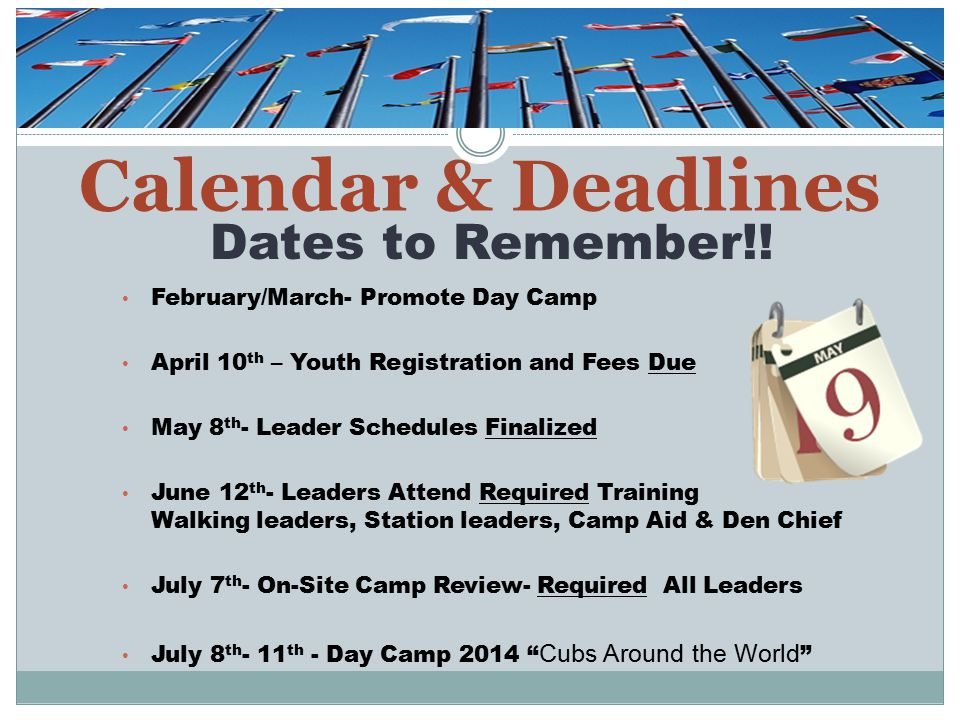 April 10th Youth Registration Deadline Complete Before: Online Registration- Online Registration- (sign in, Registration, Pack # - Youth) Registration link found at: www.foothillscubdaycamp.webs.comwww.foothillscubdaycamp.webs.com Bring: Online Registration Summary Rank Roster Tiger, Wolf, Bear & WEBELOS Youth Heath Forms Payment Form Payment ( One Check per pack) Cub Health Forms Cub Health Forms Cub Health Forms Cub Health Forms Cub Health Forms Youth Health Forms Youth Health Forms Youth Health Forms Youth Health Forms Youth Health Forms Tiger Rank Roster Wolf Rank Roster Bear Rank Roster Webelos Rank Roster
