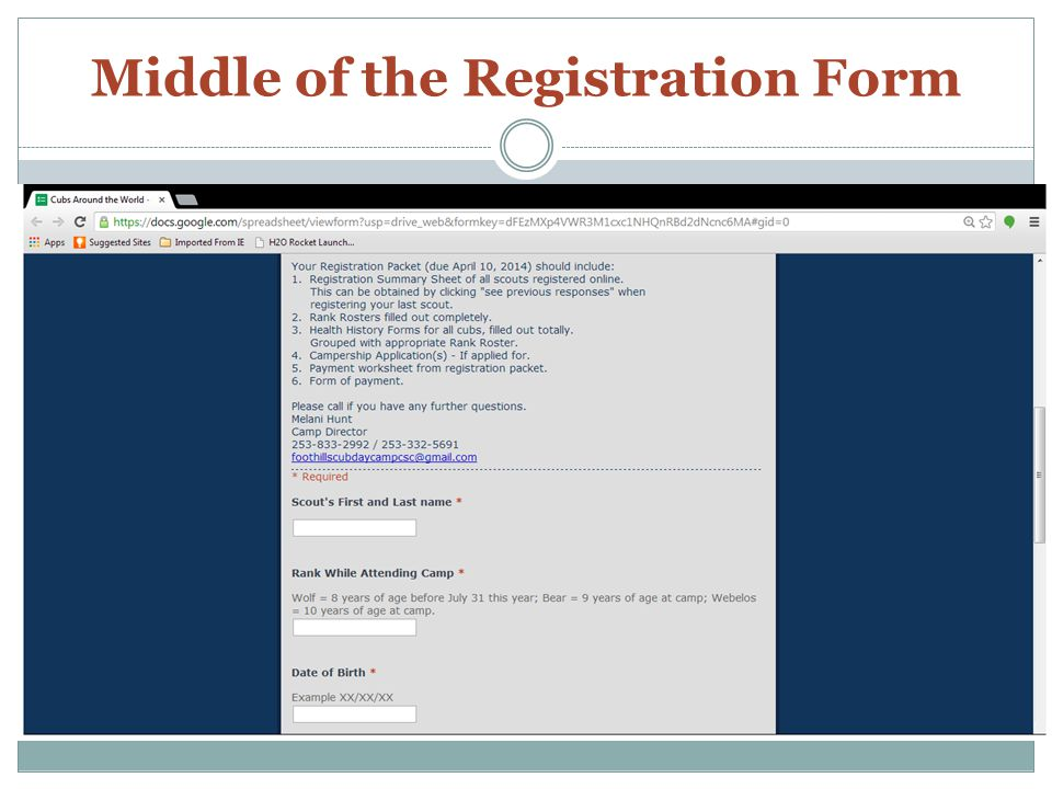 Bottom of Registration Form