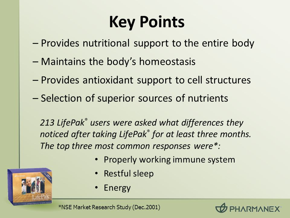 Key Points – Provides nutritional support to the entire body – Maintains the body's homeostasis – Provides antioxidant support to cell structures – Selection of superior sources of nutrients Properly working immune system Restful sleep Energy *NSE Market Research Study (Dec.2001) 213 LifePak ® users were asked what differences they noticed after taking LifePak ® for at least three months.