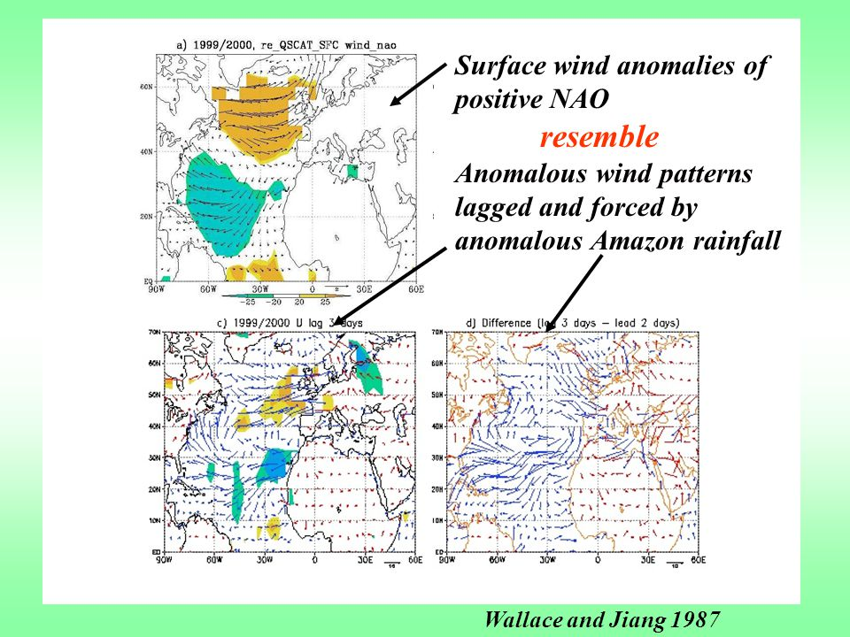 Surface wind anomalies of positive NAO resemble Anomalous wind patterns lagged and forced by anomalous Amazon rainfall Wallace and Jiang 1987