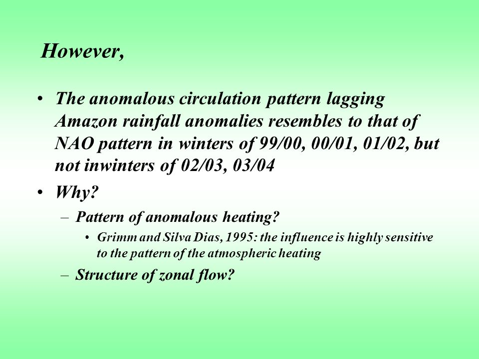 However, The anomalous circulation pattern lagging Amazon rainfall anomalies resembles to that of NAO pattern in winters of 99/00, 00/01, 01/02, but not inwinters of 02/03, 03/04 Why.