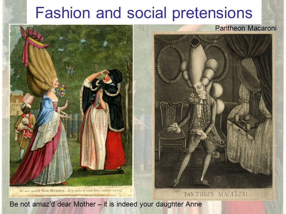 Fashion and social pretensions Be not amaz'd dear Mother – it is indeed your daughter Anne Pantheon Macaroni