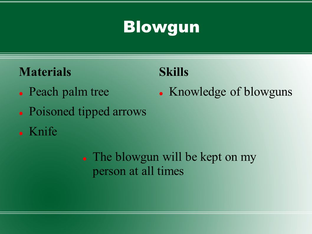 Blowgun Materials Peach palm tree Poisoned tipped arrows Knife Skills Knowledge of blowguns The blowgun will be kept on my person at all times