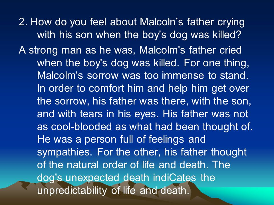 2.How do you feel about Malcoln's father crying with his son when the boy's dog was killed.