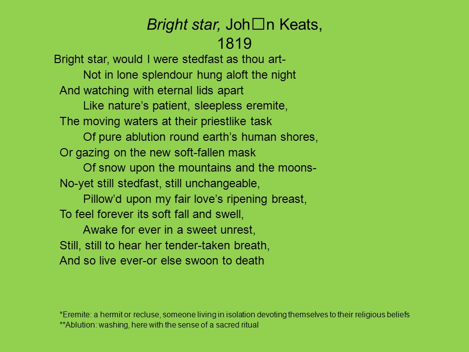ode to a nightingale and to autumn Ode to a nightingale by john keats my heart aches and a drowsy numbness pains my sense as though of hemlock i had drunk or emptied some dull opiate to the drains one minute past and.
