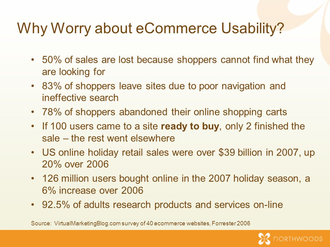 50% of sales are lost because shoppers cannot find what they are looking for 83% of shoppers leave sites due to poor navigation and ineffective search 78% of shoppers abandoned their online shopping carts If 100 users came to a site ready to buy, only 2 finished the sale – the rest went elsewhere US online holiday retail sales were over $39 billion in 2007, up 20% over 2006 126 million users bought online in the 2007 holiday season, a 6% increase over 2006 92.5% of adults research products and services on-line Source: VirtualMarketingBlog.com survey of 40 ecommerce websites, Forrester 2006 Why Worry about eCommerce Usability