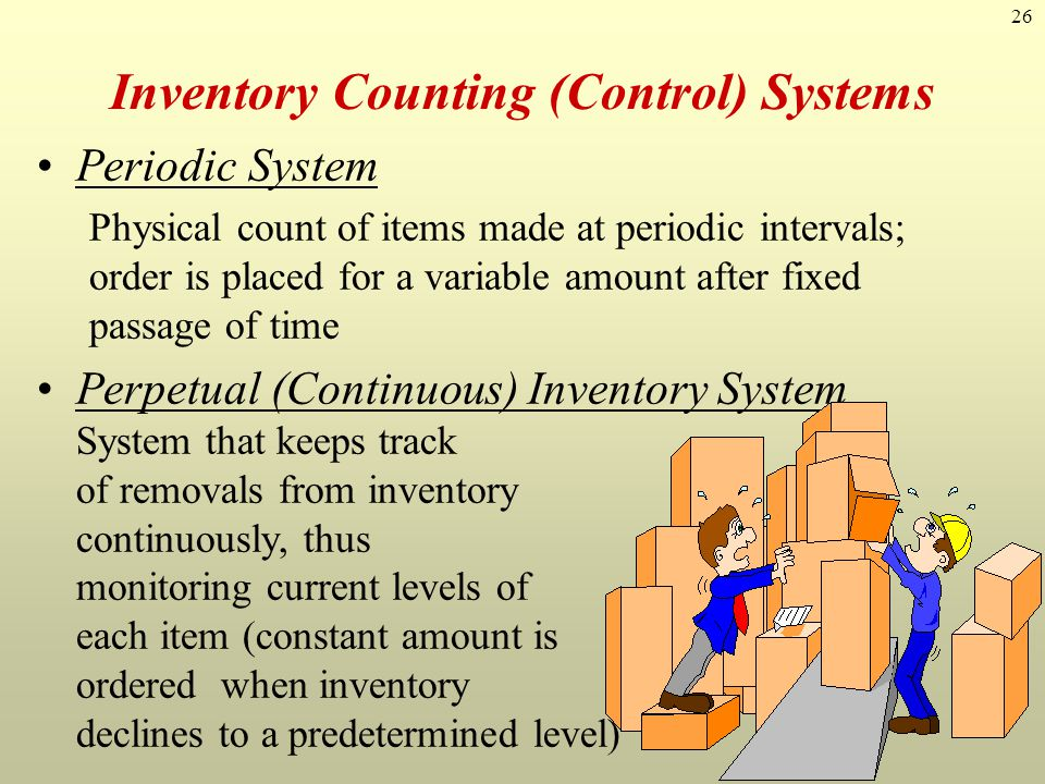 26 Inventory Counting (Control) Systems Periodic System Physical count of items made at periodic intervals; order is placed for a variable amount afte