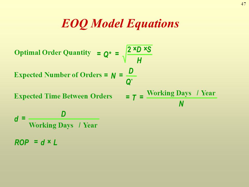 47 Optimal Order Quantity Expected Number of Orders Expected Time Between Orders Working Days / Year Working Days / Year == ×× == == = =× Q* DS H N D
