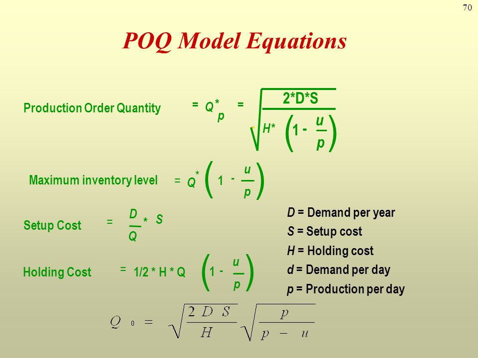 70 D = Demand per year S = Setup cost H = Holding cost d = Demand per day p = Production per day POQ Model Equations Production Order Quantity Setup C