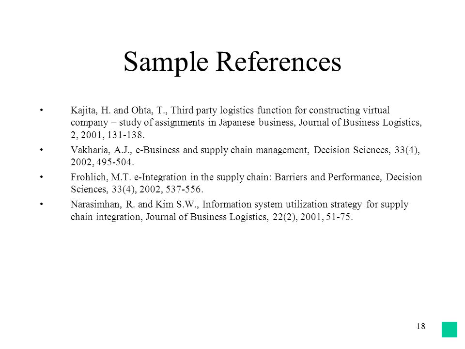 18 Sample References Kajita, H. and Ohta, T., Third party logistics function for constructing virtual company – study of assignments in Japanese busin