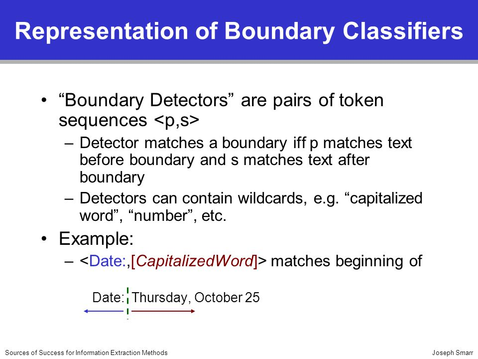 Joseph SmarrSources of Success for Information Extraction Methods Representation of Boundary Classifiers Boundary Detectors are pairs of token sequences –Detector matches a boundary iff p matches text before boundary and s matches text after boundary –Detectors can contain wildcards, e.g.