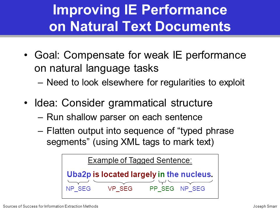 Joseph SmarrSources of Success for Information Extraction Methods Improving IE Performance on Natural Text Documents Goal: Compensate for weak IE performance on natural language tasks –Need to look elsewhere for regularities to exploit Idea: Consider grammatical structure –Run shallow parser on each sentence –Flatten output into sequence of typed phrase segments (using XML tags to mark text) Example of Tagged Sentence: Uba2p is located largely in the nucleus.