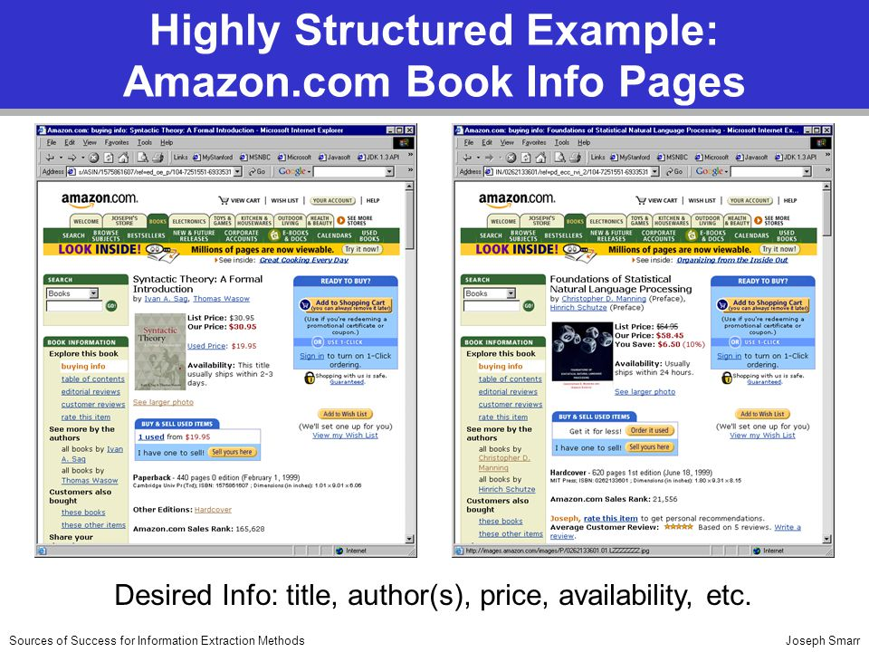 Joseph SmarrSources of Success for Information Extraction Methods Highly Structured Example: Amazon.com Book Info Pages Desired Info: title, author(s), price, availability, etc.