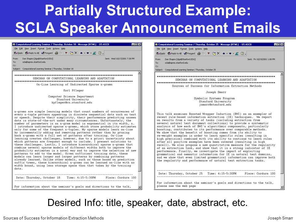 Joseph SmarrSources of Success for Information Extraction Methods Partially Structured Example: SCLA Speaker Announcement Emails Desired Info: title, speaker, date, abstract, etc.