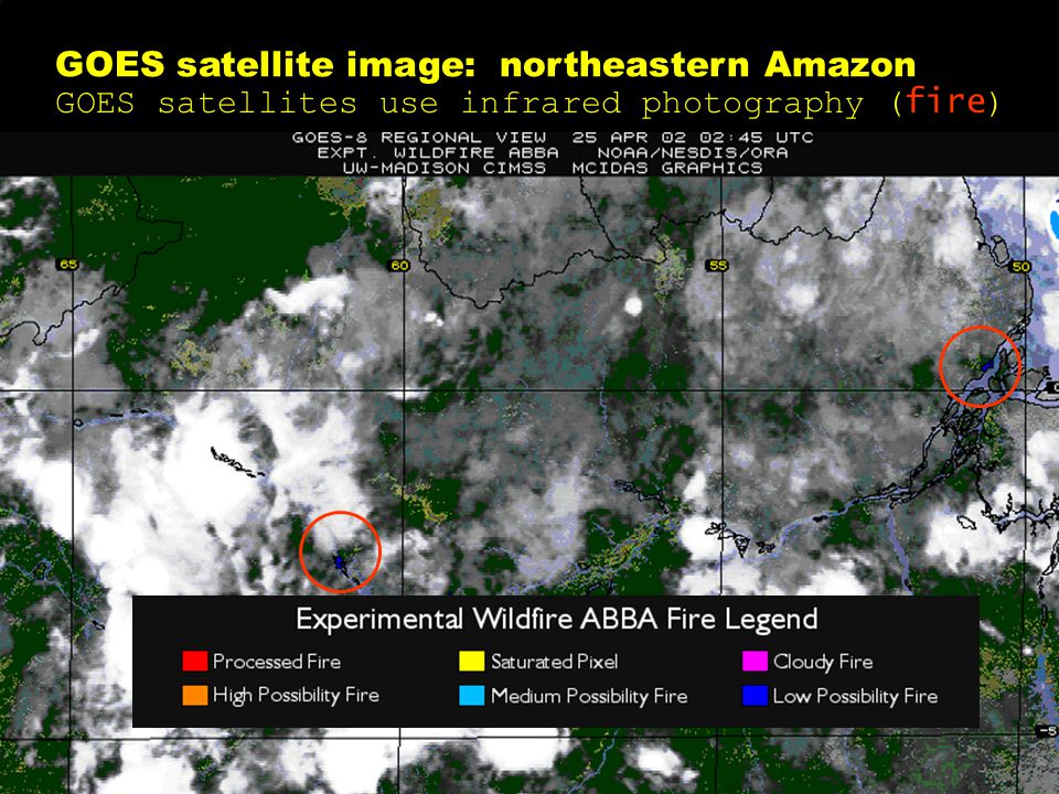 GOES satellite image: northeastern Amazon GOES satellites use infrared photography ( fire )