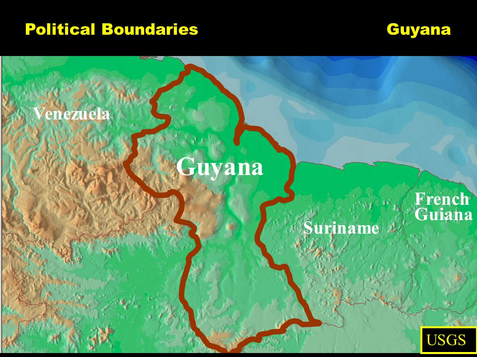 Political Boundaries Guyana Venezuela Suriname French Guiana USGS Guyana
