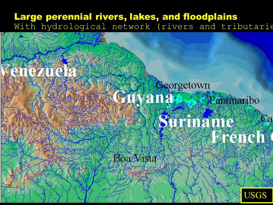Large perennial rivers, lakes, and floodplains With hydrological network (rivers and tributaries)