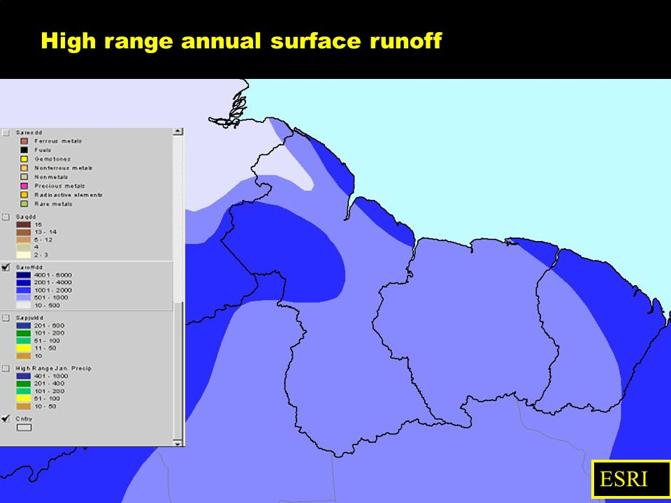 High range annual surface runoff ESRI