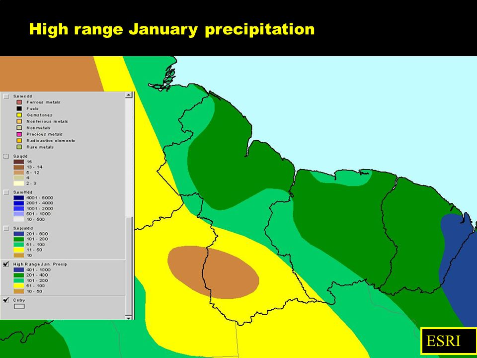 High range January precipitation ESRI