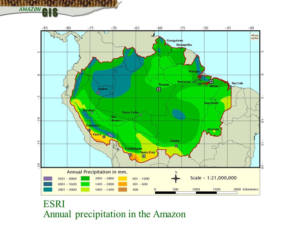 ESRI Annual precipitation in the Amazon