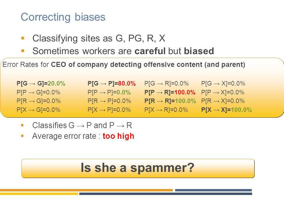 Correcting biases  Classifying sites as G, PG, R, X  Sometimes workers are careful but biased  Classifies G → P and P → R  Average error rate : to
