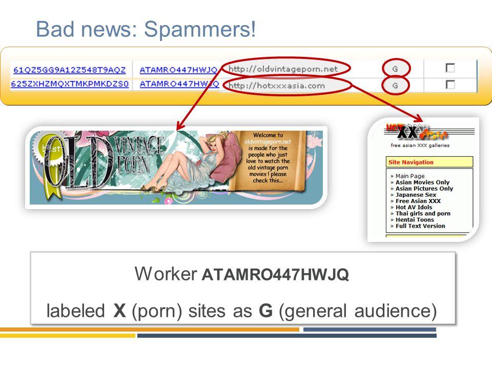 Bad news: Spammers! Worker ATAMRO447HWJQ labeled X (porn) sites as G (general audience) Worker ATAMRO447HWJQ labeled X (porn) sites as G (general audi