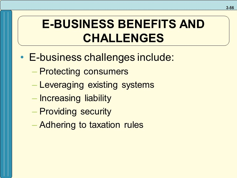 3-56 E-BUSINESS BENEFITS AND CHALLENGES E-business challenges include: –Protecting consumers –Leveraging existing systems –Increasing liability –Provi