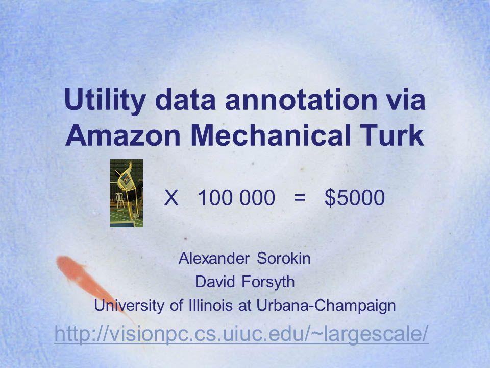 Utility data annotation via Amazon Mechanical Turk Alexander Sorokin David Forsyth University of Illinois at Urbana-Champaign http://visionpc.cs.uiuc.edu/~largescale/ X 100 000 = $5000